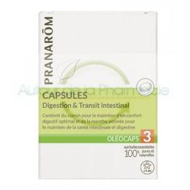 Oléocaps N°3 Digestion & Transit intestinal - Pranarôm - 30 Capsules