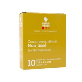 Marque Verte - Compresses stériles Non Tissé - 10*10 cm Boite de 50 sachets de 2