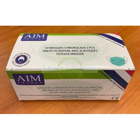 Masque Virucide AIM Chirurgical Type II Norme CE - boîte de 50 masques