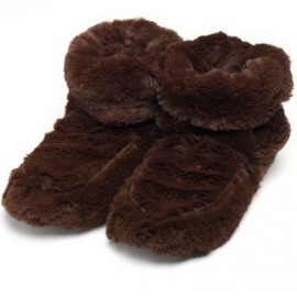 Soframar - Chaussons Bouillottes Graines Micro Onde - Cozy Boots Fourrure Chocolat