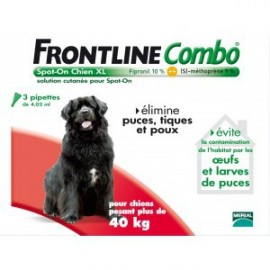 Frontline Combo - Chiens 40/60 Kg Géant - 3 Pipettes